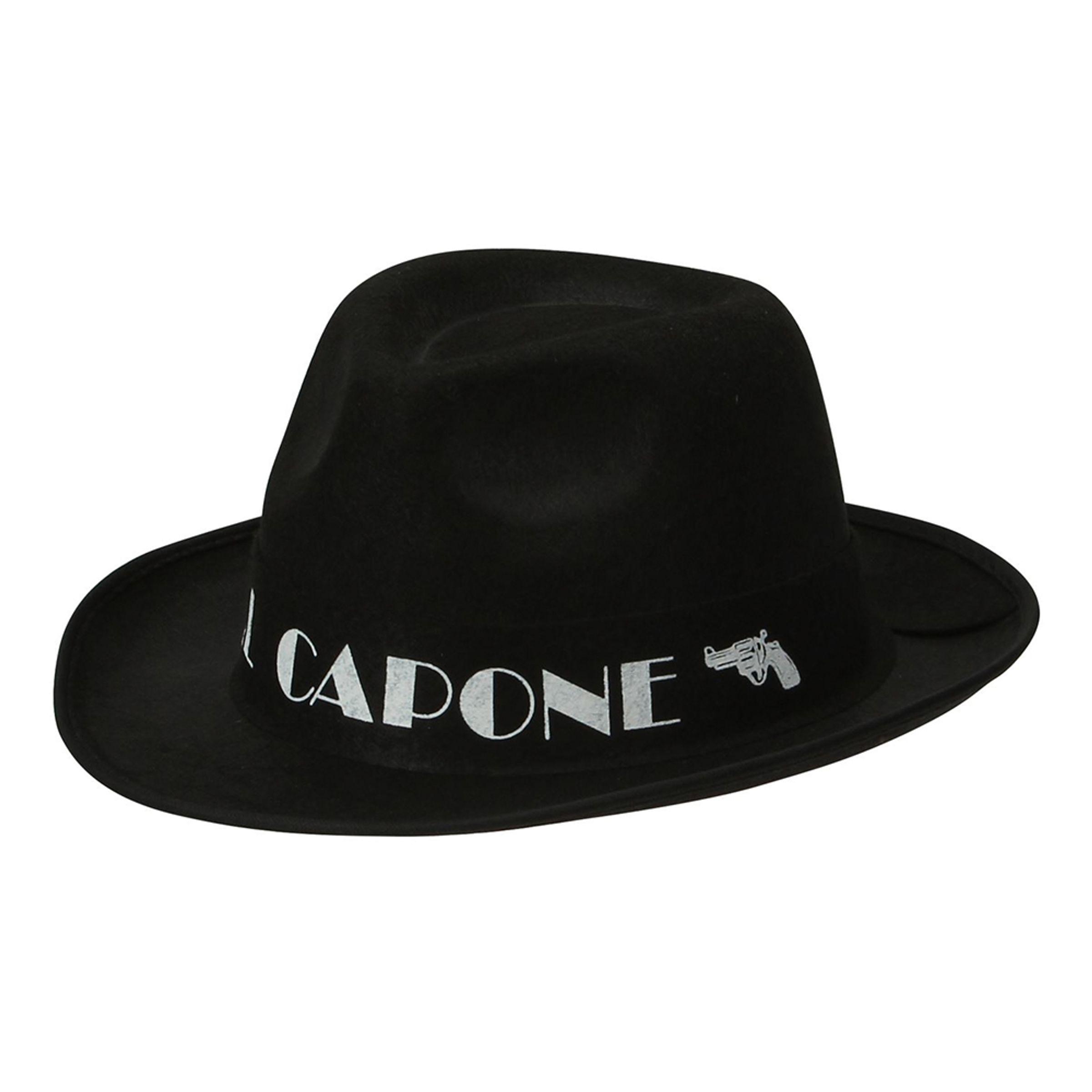 Al Capone Svart Gangsterhatt - One size
