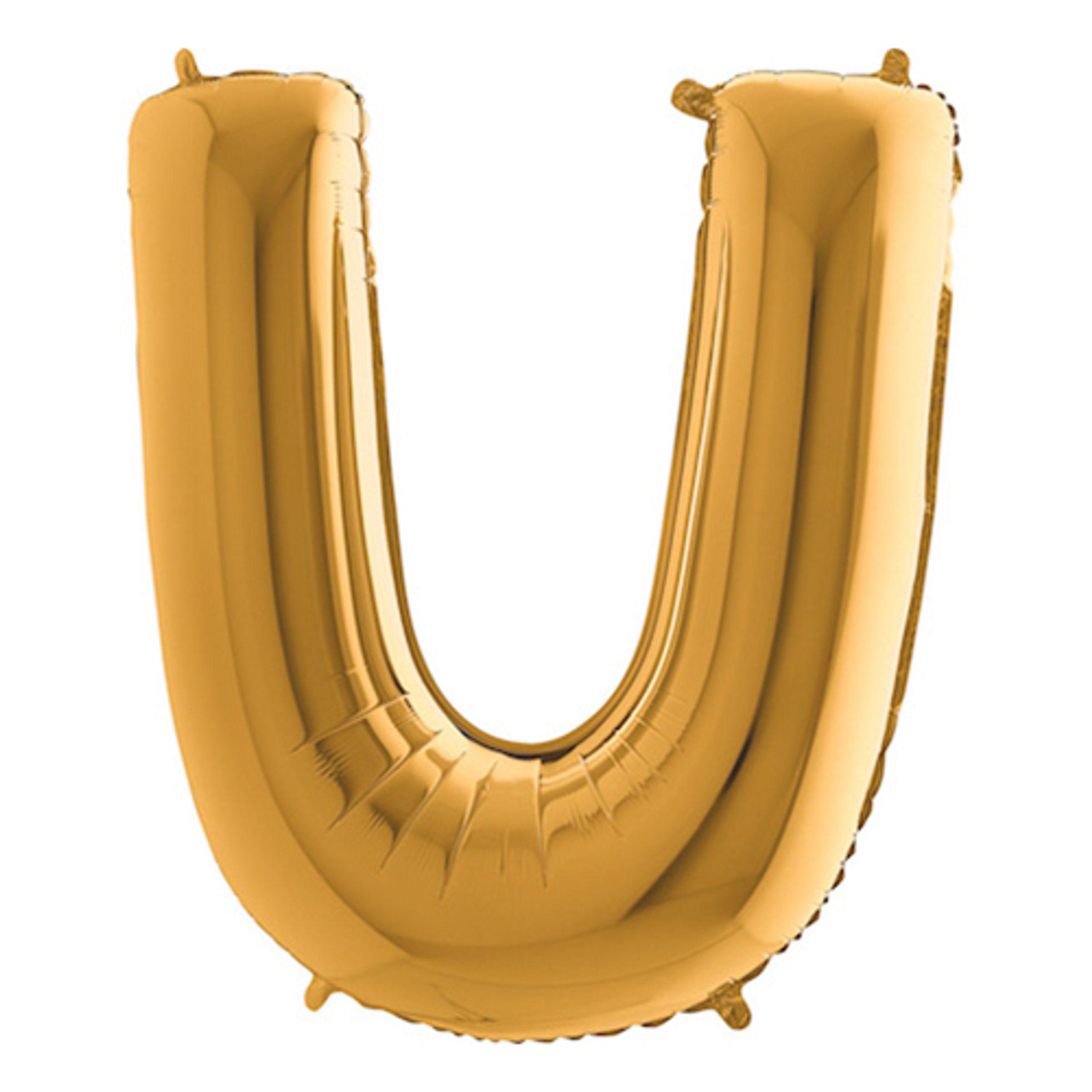 Bokstavsballong Guld - Bokstav U