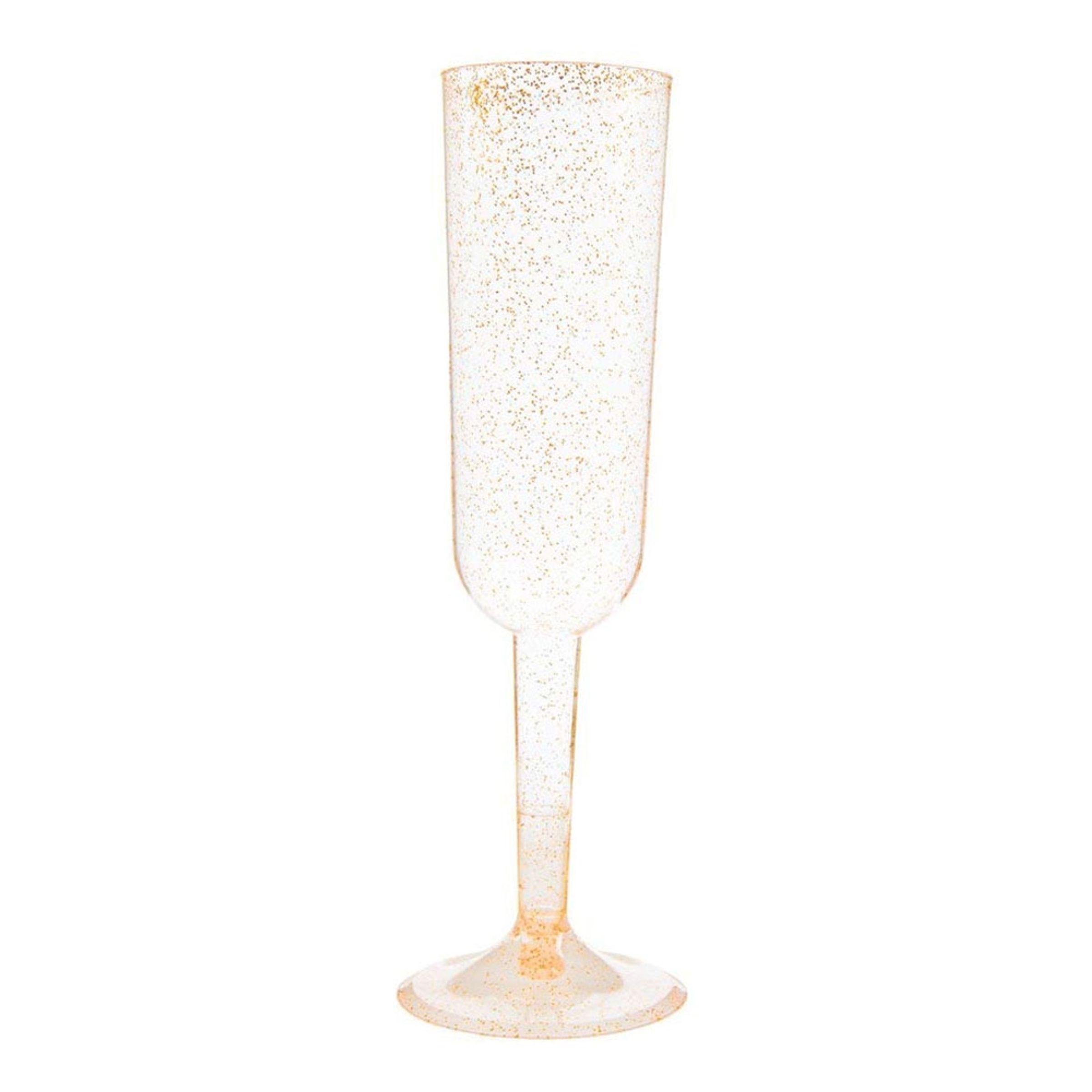 Champagneglas i Plast Guld Glitter - 4-pack