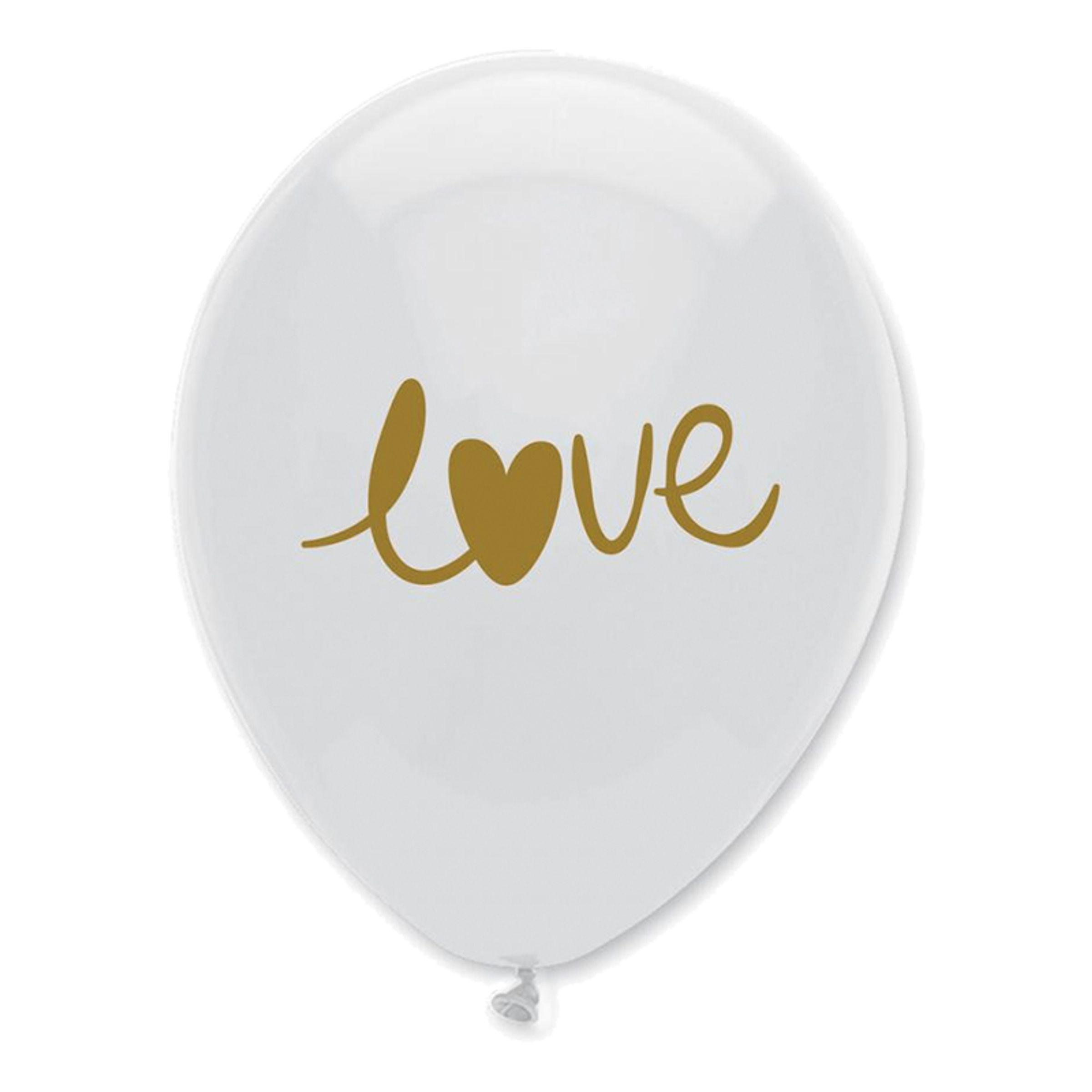 Ballonger LOVE Vit/Guld - 10-pack