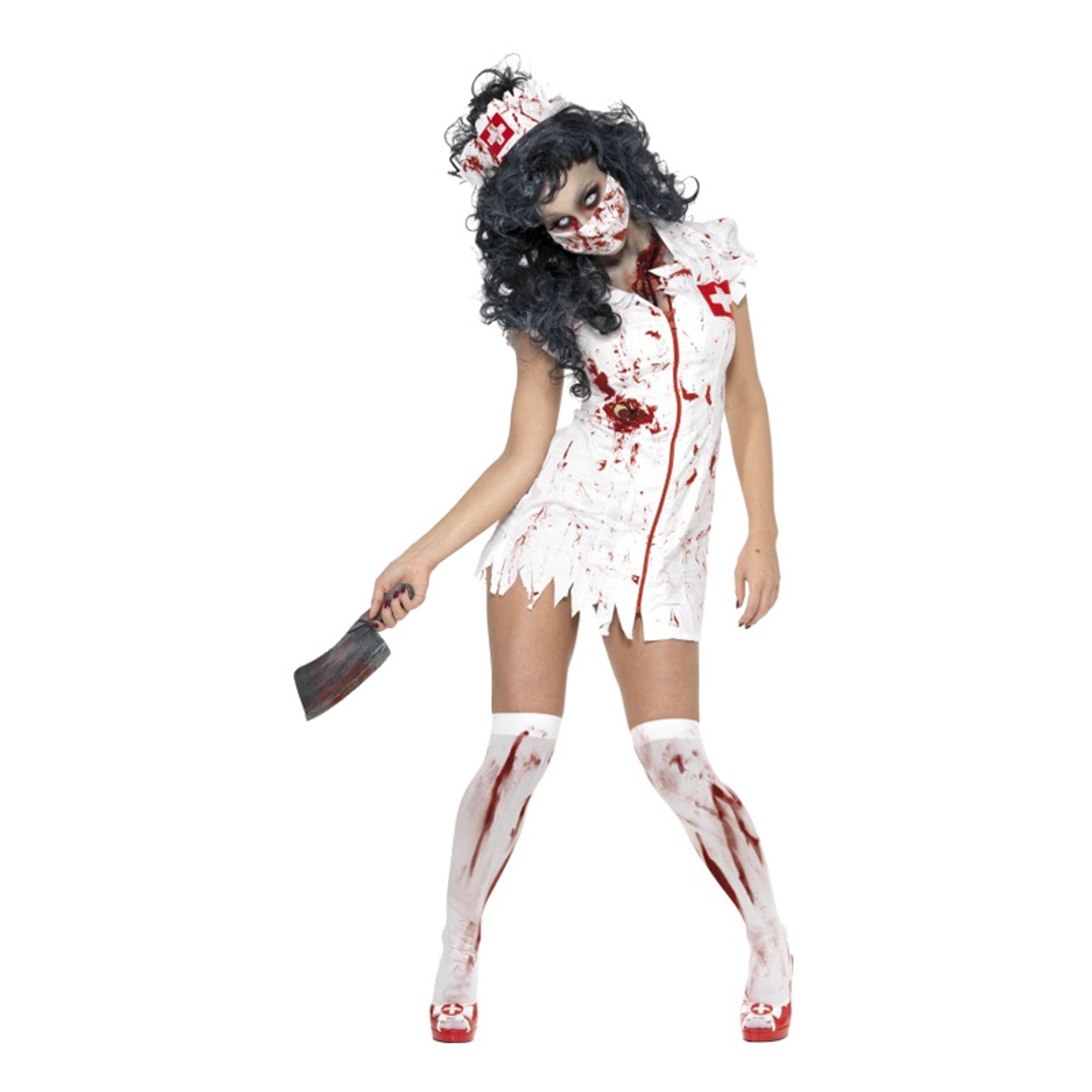 Zombie Sjuksköterska Maskeraddräkt - Large